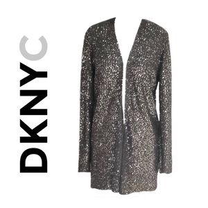 DKNYC SEQUINED LIGHTWEIGHT OPEN-FRONT CARDIGAN NWT